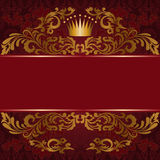 Red background with gilded ornament. Dark red background with ornate gilded ornament Royalty Free Stock Photos