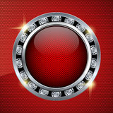 Red background with glass button Stock Photo