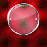 Red background with glass circle frame Royalty Free Stock Images