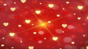 Red background with glittering hearts. On Valentine`s day, wedding day, love and romance stock video footage