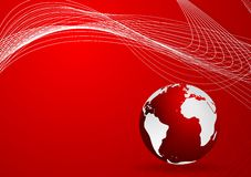 Red background with globe and waves Stock Photography