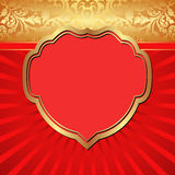 Red background. Red and gold  background with decorative frame Stock Photo