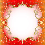 Red  background with gold (en) an ornament Stock Photo