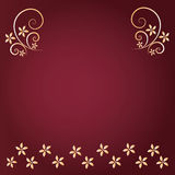 Red  background with gold flower Stock Photo