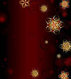 Red background with gold flowers. Dark red background with a glowing gold stylized flowers Stock Photos