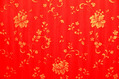 Red background with gold flowers Royalty Free Stock Photos