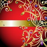 Red background with gold jewerly Royalty Free Stock Photography