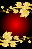Red background with gold leaves Royalty Free Stock Image