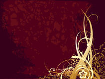 Red background with gold ornament Royalty Free Stock Image