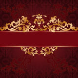 Red background with gold ornaments Royalty Free Stock Photography