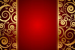 Red background with gold ornaments Stock Image