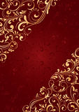 Red background with gold pattern. Decorative template for text, illustration Royalty Free Stock Image