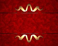 Red background with gold pattern Stock Photos