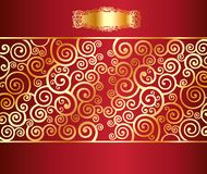 Red background with a gold pattern Royalty Free Stock Images