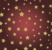 Red background with gold stars. Can be used for wallpaper, pattern, backdrop, surface textures Royalty Free Stock Photography