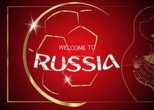 Red background with golden ball and text : welcome to Russia. Russia 2018 Fifa World Cup Background. icon golden abstract Football cup trophy Royalty Free Stock Image