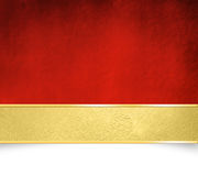 Red background with golden banner - Christmas template. Grunge red background texture with vintage golden banner - abstract Christmas design Stock Images