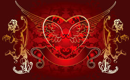 Red Background Golden Cupid Royalty Free Stock Images