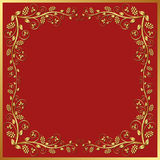 Red background. With golden floral frame Royalty Free Stock Photos