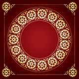 Red vector background with golden floral frame Royalty Free Stock Photos