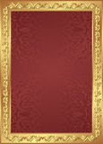 Red background. With golden frame Royalty Free Stock Photo