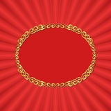 Red background. With golden frame Stock Photo