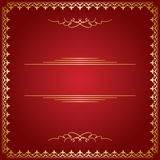 Red vector background with golden frame Stock Images
