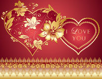 Red background with golden heart Stock Images