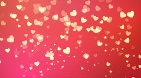 Red background with golden heart confetti. Valentines day greeting card. Wedding invitation background party design. Vector illust. Ration Royalty Free Stock Photos