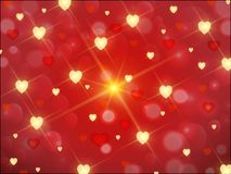 Red background with Golden hearts and stars. Red background with Golden luxury hearts and stars for Valentine`s day, Christmas, holidays Stock Photos