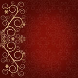 Red background with golden lace floral ornament border Stock Image