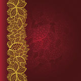 Red background with golden leaves border. This image is a vector illustration Stock Photos