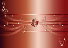 Red background with golden music notes and treble clef illustration. Music theme illustration - golden notes - red background illustration stock illustration