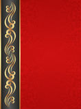 Red background. With golden ornaments Royalty Free Stock Photos