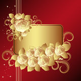 Red background with golden roses Stock Photos