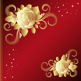 Red background with golden roses Royalty Free Stock Photo