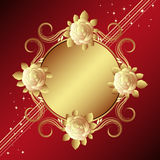 Red background with golden roses Royalty Free Stock Images