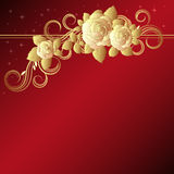 Red background with golden roses Stock Image