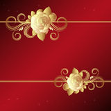 Red background with golden roses Royalty Free Stock Photos