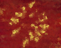 RED BACKGROUND WITH GOLDEN SQUARES Stock Photo