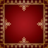 Red vector background with golden victorian ornament Royalty Free Stock Photography