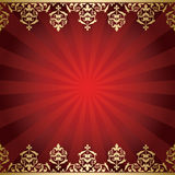 Red vector background with golden vintage borders Stock Photo