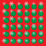 Red background green circles snowflakes. Christmas vector abstract background. White snowflakes and green circles on red. Square format royalty free illustration