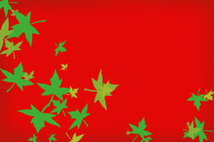 Red background with green leafs. Red background with falling green leafs of different sizes stock illustration