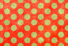 Red background with green spots. Red linen background with green spots Stock Photography
