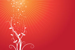 Red Background with Growing Plant. An illustrated background of a growing plant on a red background Stock Photo