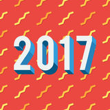 2017 on red background. Happy New Year 2017 on red background with gold confetti. Holidays vector illustration in trendy flat style for web design banner, poster Royalty Free Stock Image