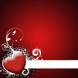 Red background with heart. Valentines Day background with Hearts, floral and wave pattern, element for design vector illustration