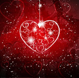 Red background with heart Royalty Free Stock Photography