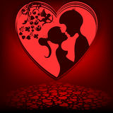 Red background,heart couple Stock Photo